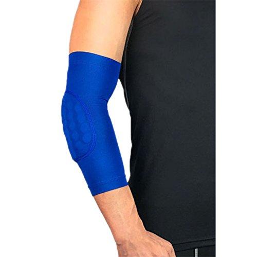 MIANSHIWU 1Pcs Elastic Gym Sport Basketball Arm Sleeve Elbow Support Pads Elbow Protector Guard Blue XL ()