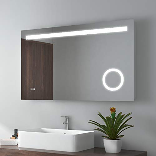Meykoe 40 x 24 inches LED Lighted Bathroom Vanity Mirror Wall Mounted - Lights Mirrors Vanity Bathroom Clock And With