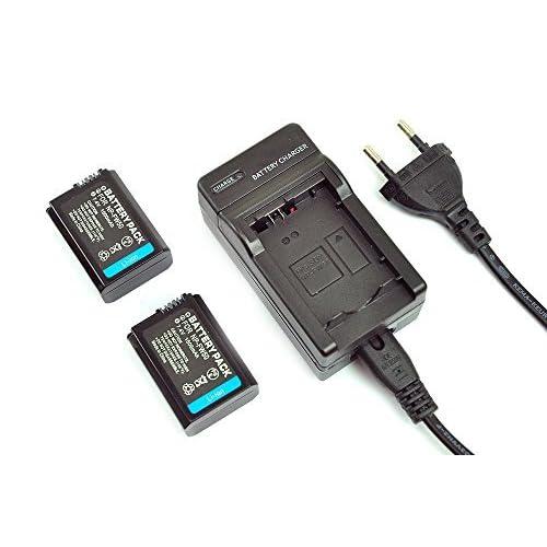 Mondpalast ® 2x Remplacement Batterie NP-FW50 fw50 1500mah avec infochip + chargeur pour Sony A6000 A5000 NEX-5 NEX-5R NEX-5N NEX-3 NEX-3N NEX-7 NEX-C3 DLSR A33 DLSR A55 Alpha A7 A7r RX10 A7s A7 II
