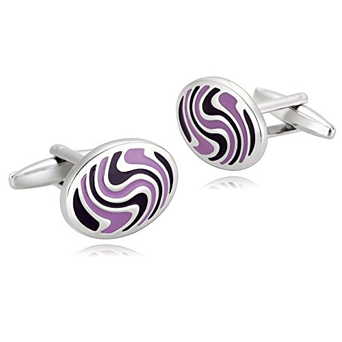 KnSam Stainless Steel Silver Purple Irregular Pattern Oval Shape Cufflinks for Mens