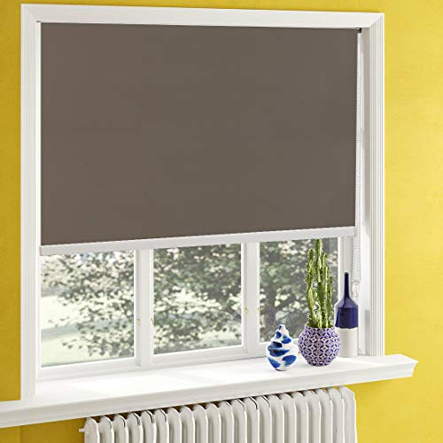 Keego Blackout Window Blinds,Curtains for Kitchen Bedroom, Window Shade Room Darkening Roller Shutters with Back in White for Sun Shade[Light Brown 100% - Roman Insulated 27 Shades