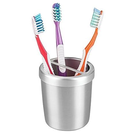 mDesign Accesorios para el baño - Vaso y porta cepillo de dientes en aluminio inoxidable -