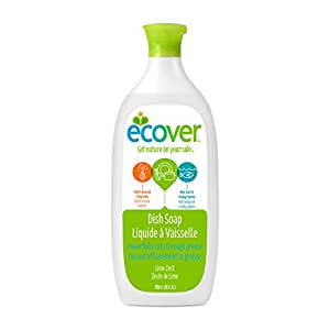 Ecover Naturally Derived Liquid Dish Soap, Lime Zest, 25 Ounce (Pack of 6)