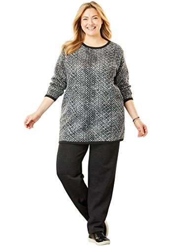 Woman Within Women's Plus Size 2-Pc Fleece Sweatsuit,Heather Charcoal Tie Dye Geo,Large by Woman Within