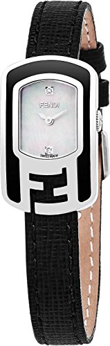 Fendi Chameleon Women's-small Mother-of-Pearl Face Stainless Steel Diamond Black leather Strap Swiss Watch F311024511D1 by Fendi