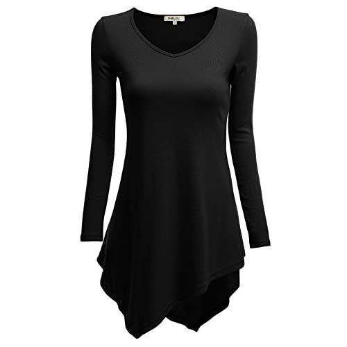 Cheap Doublju Womens Long Sleeve V-Neck Tunic Handkerchief Longline Tunic T-Shirt Dress MNbyc7fB