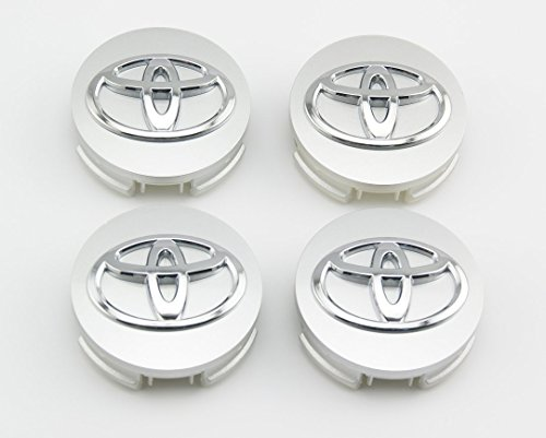 TSD Toyota 62mm Outer Diameter Silver Wheel Center Hub Caps Cover 4-pc Set