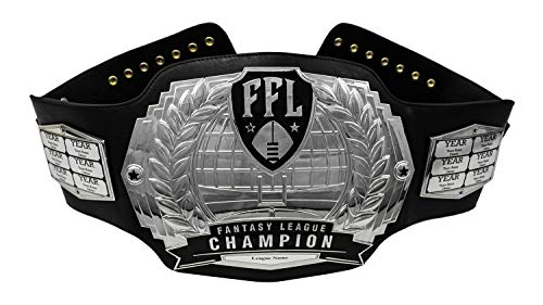 Fantasy Football Championship Belt - Customizable with up to 12 Years of Past Winners! Silver Customized Fantasy Football Trophy