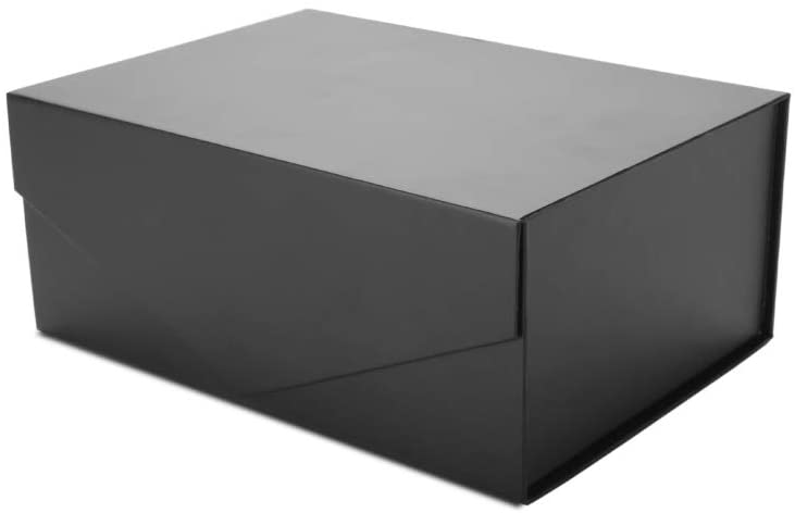 PACKHOME Gift Box 9.5x7x4 Inches, Groomsman Box, Rectangle Collapsible Box with Magnetic Lid for Gift Packaging (Matte Black, Grid Pattern)