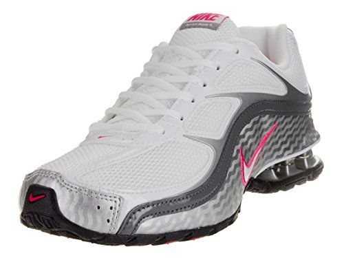 NIKE Women's Reax Run 5, Running Shoes Size 9. White/Metallic Silver/Dark Grey.