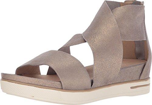 Eileen Fisher Womens Sport Platinum Metallic Suede Sandal - -
