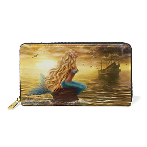 mermaid Card Wallet ALAZA Themes Holder Handbag Purse Different Brown Long Leather Genuine Leather Clutch 84P1wqp