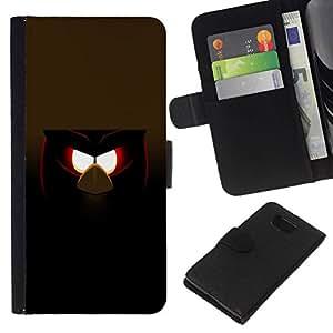 All Phone Most Case / Oferta Especial Cáscara Funda de cuero Monedero Cubierta de proteccion Caso / Wallet Case for Samsung ALPHA G850 // Funny Evil Bird