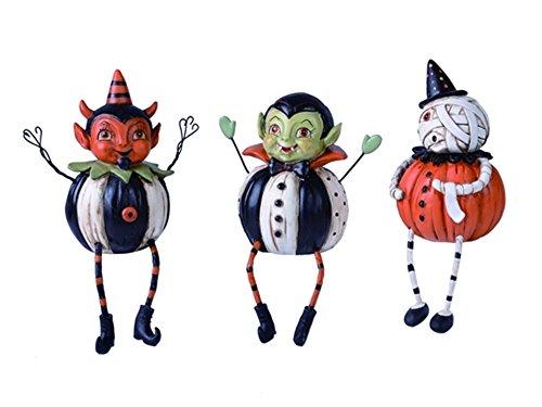 Halloween Rentals - Halloween Pumpkin Shelf Sitter Figurines Set of 3 New Vampire Mummy Devil
