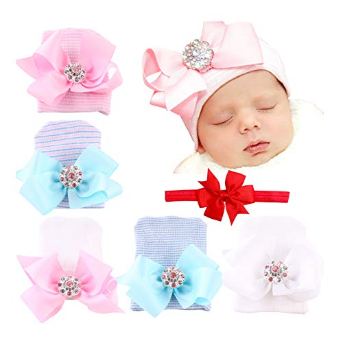 DRESHOW BQUBO 5 Pieces Baby Turban Hats Turban Bun Knot Baby Infant Beanie Baby Girl Soft Cute Toddler Cap (5 Pack Bow Knit Rhinestone / 0-3 Month)