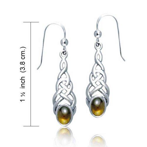 Celtic Knot Work Love Honey Brown Amber Oval Dangle Earrings For Women Fish Hook 925 Sterling Silver
