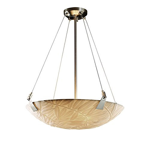 Justice Design Group Porcelina 6-Light Pendant - Brushed Nickel Finish with Bamboo Faux Porcelain Resin Shade