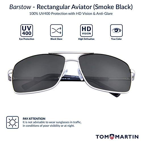 031a2d15e90bd Tom Martin UV–400 Protected Sunglasses – Barstow – Rectangular Aviator –  (Men– Silver Frame Smoke Black)  Amazon.in  Clothing   Accessories