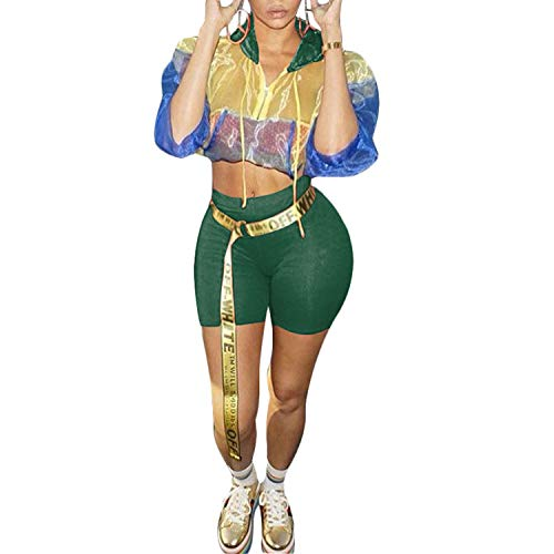 - Bodycon Two Piece Jumpsuit Long Sleeve Hoodie Short Pants Rompers Clubwear Green S