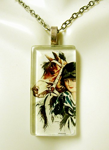 (American beauty with a brown pony glass pendant - HGP02-100 - Harrison Fisher)