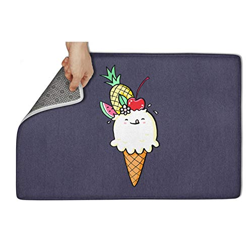 """XCFDDCQY National Ice Cream Day Fruit White Doormat Rugs Non Slip Non-Slip Door Mat for Outdoor Printted Waterproof Vintage Gym 23.5""""x15.5"""" Machine Washable Inside Mats"""