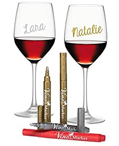 Vino Marker Metallic Wine Glass Washable Pens (4 pack) - Perfect Housewarming Present or Hostess Gift