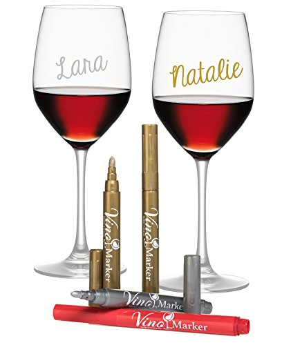 (Vino Marker Metallic Wine Glass Washable Pens (4 pack) - Perfect Housewarming Present or Hostess Gift for Wine Tastings, Dinner Parties, or Any Event)