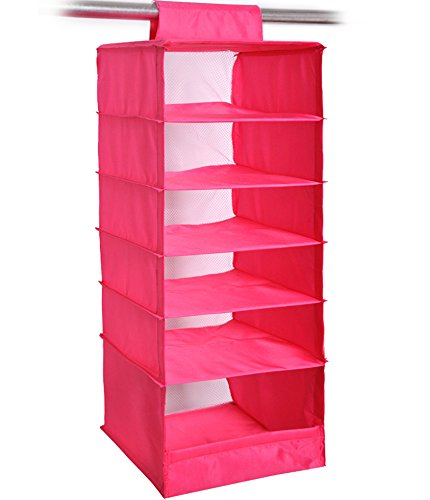 NKTM 6-Shelf Girls Closet Hanging Shelf Shoe Sweater Clothing Organizer for Students Children Pink 600D Oxford Fabric,10.3x11.8x33 inches - Love Shelf Bra