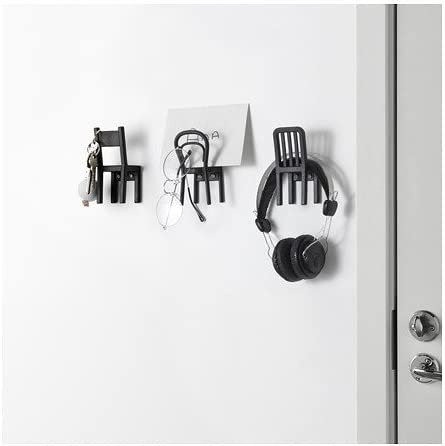 IKEA FJANTIG  WALL MOUNTED HOOK HANGER SET OF 3 BLACK KEY CLOTH JEWELRY HOLDER