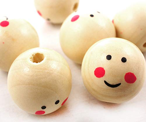 4pcs Beige Natural Wood Angel Doll Head Human Print Smile Round Balls Beads Christmas Tree Decoration Home Decor 22-25mm Hole 1mm ()