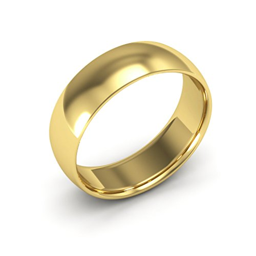 14K Yellow Gold men's and women's plain wedding bands 6mm comfort-fit light, 12 by i Wedding Band (Image #1)
