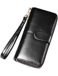 Women's RFID Blocking Large Capacity Wax Clutch Wallet Card Holder Ladies Purse