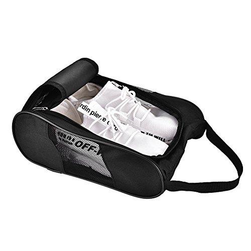 ルーム該当するお母さんAcogedor シューズバッグ 旅行用 ゴルフシューズオーガナイザーバッグ 通気性 ナイロン ジッパー付き スポーツシューズバッグ 男女兼用 ブラック
