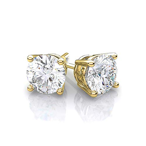 Cate & Chloe Mia Diamond-Simulated Stud Earrings, Gold CZ Stud Earrings, Round CZ Studs, Crystal Earrings, Classic Studs, Best Earrings for Women (1CT Yellow Gold Plated Sterling Silver)