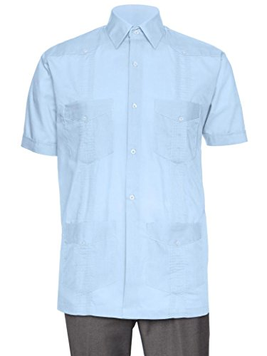 Gentlemens Collection Short Sleeve Guayabera Shirt - for Men Cuban Light Blue - Shirt Collection Mens