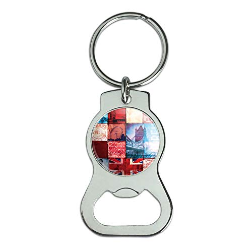 Graphics and More London England Britain Bridge Tile Collage Bottle Cap Opener Keychain Key Ring