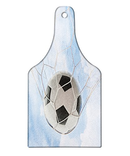 Lunarable Sports Cutting Board, Soccer Ball Goal with Cloudy Sky Summertime Outdoor Activities Sporting, Decorative Tempered Glass Cutting and Serving Board, Wine Bottle Shape, Pale Blue Black White by Lunarable