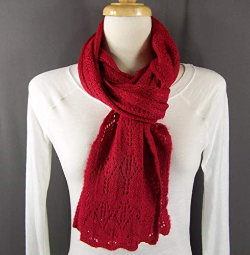 Red pointelle knit pattern knitted scarf 68 ()