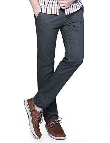 Match Mens Slim-Tapered Flat-Front Casual Pants (34, 8063 Dark gray)
