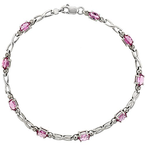 10k White Gold XOXO Hugs & Kisses Tennis Bracelet 0.05 ct Diamonds & 2.25 ct Oval Pink Topaz, 1/8 inch (Kisses Diamond Tennis Bracelet)