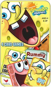 NICKELODEON SpongeBob SQUAREPANTS 4 Card Games Tin Box Set- Go Fish, Rummy, Spit and Crazy Eights Go Fish Tin