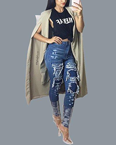 Pantaloni Come Fit Jeans Immagine Denim Destroyed Donne Stile Vita Strappato Slim Alta rq6ZH0Ivq
