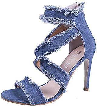 delgado y bolsas con cremallera y zapatos de mujer. agujeros Donyyyy mujer de sandalias huecos jeans zapatos de tac/ón alto