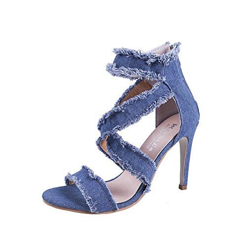 sottile scarpe e incavi femminile donna lampo six jeans tacchi con i da sacchetti fori alti e Sandali Thirty chiusura O0wR6w