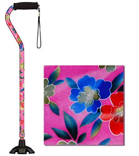 NOVA Sugarcane, Walking Cane with Quad Tip and Carrying Strap, Stand Alone Cane, Pink Garden Design