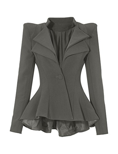 GRAPENT Women's Grey Double Notch Lapel Sharp Shoulder Pads Asymmetry Blazer Jacket US - U Discount 2 Sunglasses