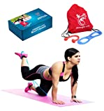 Booty Bands Set by Strength 4 Fit - Unique Resistance Bands Butt Lift System, Focusing On Improving Your Body Shape and Flexibility with Chest Expander Pull Rope and Carry Bag & Online Videos