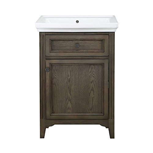 Chariot 24 in. Vanity in Driftwood with Vitreous China Vanity Top in White and Basin (Vanity Top China White)