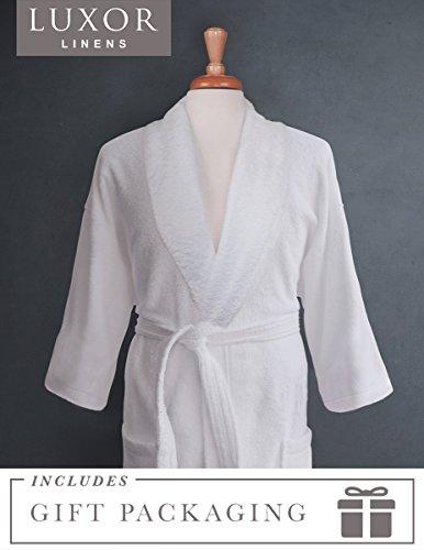 Elegant Monogram - Luxor Linens Couple's Terry Cloth Bathrobe Egyptian Cotton Unisex/One Size Luxurious Soft Plush Elegant San Marco (Single Robe, Custom monogram with Gift Packaging)