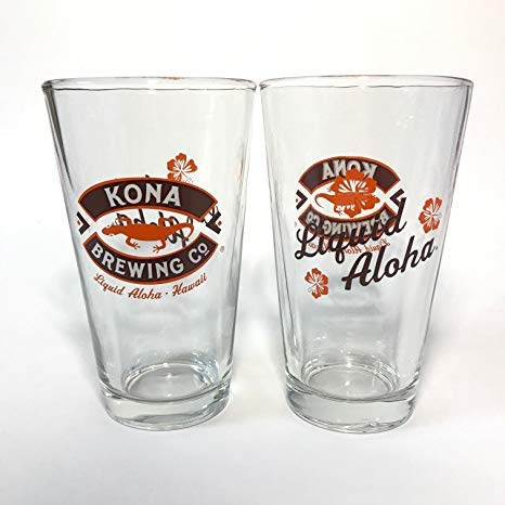Kona Brewing Company - Liquid Aloha - 16 Ounce Pint Glass - Set of 2 ()